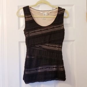 Fitted nude and lace sleeveless top